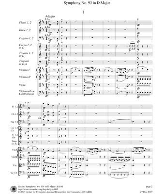 [Haydn Symphony No. 93 score]