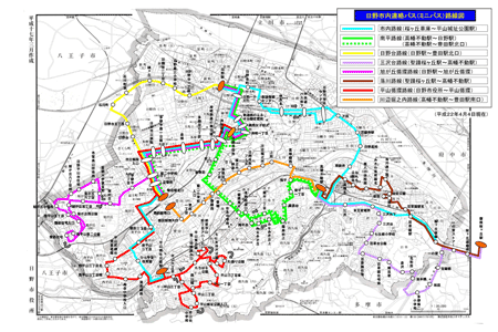 [日野市内連絡バス(ミニバス)路線図]
