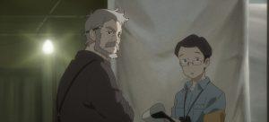 ハマモトさんのお父さん(左)と研究所の人(映画『ペンギン・ハイウェイ』公式サイト ギャラリーより)